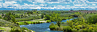The Henry's Fork of the Snake River as it winds through the beautiful farm land of Ashton Idaho at the foot of the Grand Tetons.<br />