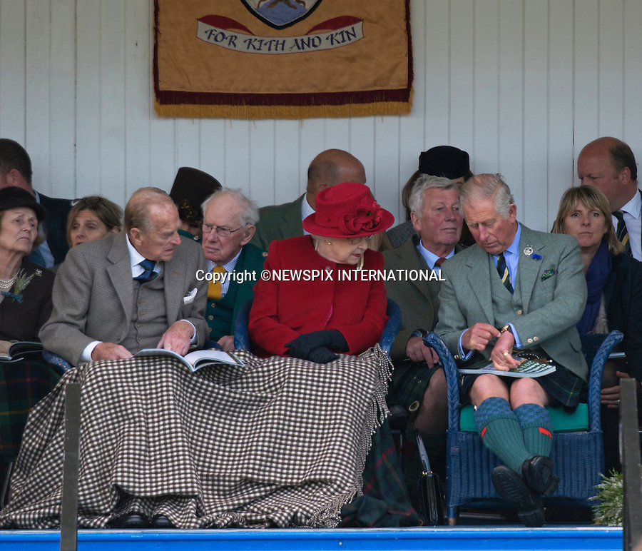 05.09.2015; Braemar, Scotland: PRINCE CHARLES POINTS THE TIME TO THE QUEEN<br />With the Queen Elizabeth celebrating as the longest serving British Monarch on 9th Septemebr 2015, her long suffering son and heir  Prince Charles has had to wait a long time to ascend to the throne.<br />Could this be the time for him to take over?<br />The Royals who included The Queen, Duke of Edinburgh, Prince Charles, Peter Philips and wife Autumn were attending the 200th Braemar Highland Gathering.<br />Mandatory Photo Credit: &copy;NEWSPIX INTERNATIONAL<br /><br />**ALL FEES PAYABLE TO: &quot;NEWSPIX INTERNATIONAL&quot;**<br /><br />PHOTO CREDIT MANDATORY!!: NEWSPIX INTERNATIONAL(Failure to credit will incur a surcharge of 100% of reproduction fees)<br /><br />IMMEDIATE CONFIRMATION OF USAGE REQUIRED:<br />Newspix International, 31 Chinnery Hill, Bishop's Stortford, ENGLAND CM23 3PS<br />Tel:+441279 324672  ; Fax: +441279656877<br />Mobile:  0777568 1153<br />e-mail: info@newspixinternational.co.uk