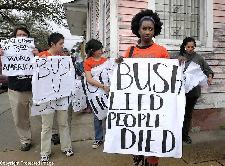 Shana Griffin was among a small group of protesters standing one block away from a small diner where President Bush had lunch with Louisiana officials, March 1, 2007. Bush was in New Orleans after visiting the Gulf Coast....