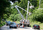 TORRINGTON CT. - 08 August 2020-080820SV02-Electrical crews working with Eversource hang power lines in the area of 1170 Goshen Road in Torrington Saturday.<br /> Steven Valenti Republican-American