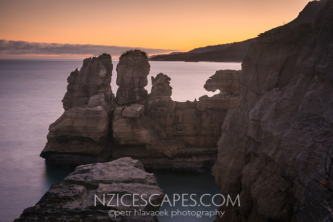 Weathered limestone formations in Punakaiki at sunrise, Paparoa National Park, Buller Region, West Coast, New Zealand, NZ