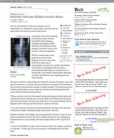 Tear sheet NYTimes.com - Scoliosis Test Lets Children Avoid a Brace - Xray of back photo is © Sami Sarkis