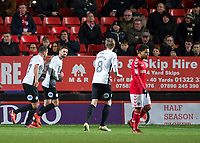 Gwion Edwards of Peterborough United celebrates scoring the opening goal during the Sky Bet League 1 match between Charlton Athletic and Peterborough at The Valley, London, England on 28 November 2017. Photo by Vince  Mignott / PRiME Media Images.