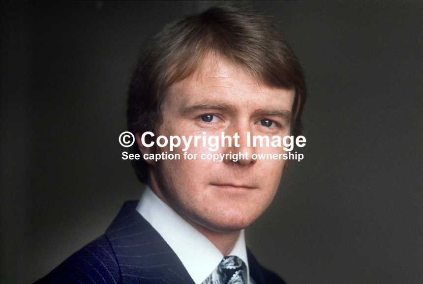 David McNarry, candidate, East Belfast, Ulster Unionist, N Ireland Convention Election, 1st May 1975. 197504000112<br /> <br /> Copyright Image from Victor Patterson, 54 Dorchester Park, Belfast, UK, BT9 6RJ<br /> <br /> t1: +44 28 9066 1296 (from Rep of Ireland 048 9066 1296)<br /> t2: +44 28 9002 2446 (from Rep of Ireland 048 9002 2446)<br /> m: +44 7802 353836<br /> <br /> e1: victorpatterson@me.com<br /> e2: victorpatterson@gmail.com<br /> <br /> The use of my copyright images is subject to my Terms &amp; Conditions.<br /> <br /> It is IMPORTANT that you familiarise yourself with them. They are available on my website at www.victorpatterson.com.<br /> <br /> None of my copyright images may be used on a website unless they are visibly watermarked, i.e. &copy; Victor Patterson within the body of the visible image. Metadata denoting my copyright must NOT be deleted. <br /> <br /> Web use (maximum size - 400 kb) is extra at currently recommended NUJ rates.