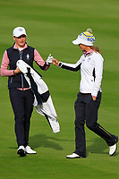 Charley Hull and Azahara Munoz of Team Europe on the 7th fairway during Day 2 Foursomes at the Solheim Cup 2019, Gleneagles Golf CLub, Auchterarder, Perthshire, Scotland. 14/09/2019.<br /> Picture Thos Caffrey / Golffile.ie<br /> <br /> All photo usage must carry mandatory copyright credit (© Golffile | Thos Caffrey)