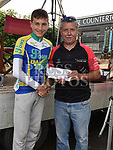 Drogheda Wheelers rider Ciaran Connor collects his prize for third place in the under 14 race in the Brendan Campbell Memorial Races 2018 at Donore. Photo:Colin Bell/pressphotos.ie