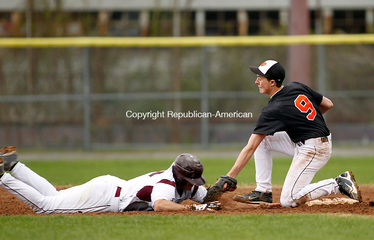 Torrington, CT-23 April 2012-042312CM13-  Watertown second baseman Luke Andrews (9) makes the tag on Torrington's Eric Rinaldi as he tries to slide back to second base Monday afternoon at Fussenich Park in Torrington.  The play would end the game, giving Watertown the 6-5 win.   Christopher Massa Republican-American