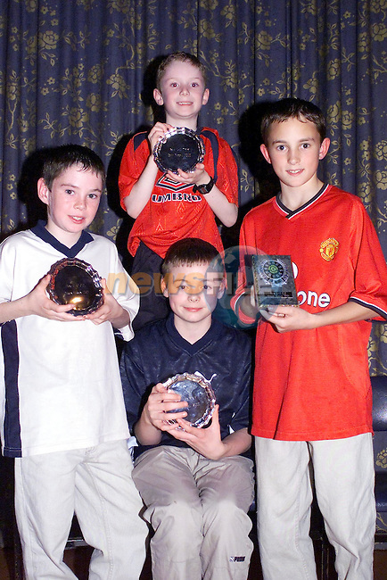 Front Darren harmon Tenure, Sean Russell Tullyallen, Stephen harmon Tenure and Back Colin Russell Tullyallen at the Awards night for Dunleer AC in the Grove Dunleer..Picture Fran Caffrey Newsfile.