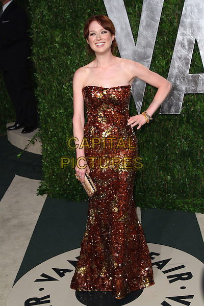 Ellie Kemper.2012 Vanity Fair Oscar Party hosted by Graydon Carter held at the Sunset Tower, West Hollywood, California, USA..February 26th, 2012.oscars full length brown gold strapless dress sequins sequined hand on hip.CAP/ADM/SLP/RU.©Ryan Upling/SLP/AdMedia/Capital Pictures.