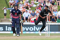 New Zealand's Ish Sodhi bowling. New Zealand Blackcaps v England. One Day International Cricket. Seddon Park, Hamilton, New Zealand on Sunday 25 February 2018.<br /> <br /> Copyright photo: &copy; Bruce Lim / www.photosport.nz