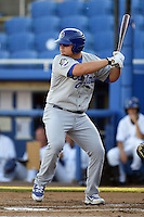 Daytona Cubs first baseman Dan Vogelbach (4) at bat during a game against the Dunedin Blue Jays on April 16, 2014 at Florida Auto Exchange Stadium in Dunedin, Florida.  Dunedin defeated Daytona 5-1.  (Mike Janes/Four Seam Images)