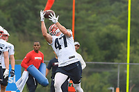 July 26, 2018: New England Patriots tight end Jacob Hollister (48) gets under the ball for a catch at the New England Patriots training camp held on the practice fields at Gillette Stadium, in Foxborough, Massachusetts. Eric Canha/CSM