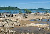 Pará State, Brazil. Xingu River. Rocky island.