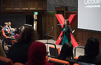 """Gaea Morales '18 talks about """"Will You Roll Down the Window?""""<br /> Occidental College's second TEDx event, Choi Auditorium, April 2, 2016. Featuring talks on sustainability and global development by speakers that included five students, a faculty member and seven external speakers.<br /> (Photo by Marc Campos, Occidental College Photographer)"""