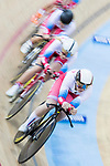 The team of Russia with Gulnaz Badykova, Tamara Balabolina, Maria Kantsyber and Lidiya Malakhova compete in the Women's Team Pursuit - Qualifying as part of the 2017 UCI Track Cycling World Championships on 12 April 2017, in Hong Kong Velodrome, Hong Kong, China. Photo by Chris Wong / Power Sport Images