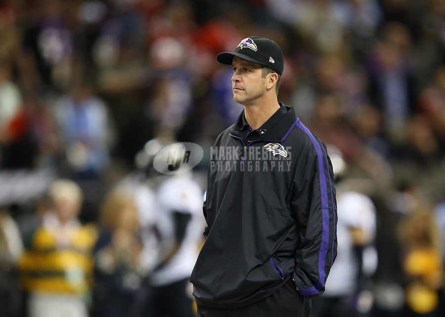Feb 3, 2013; New Orleans, LA, USA; Baltimore Ravens head coach John Harbaugh before Super Bowl XLVII against the San Francisco 49ers at the Mercedes-Benz Superdome. Mandatory Credit: Mark J. Rebilas-