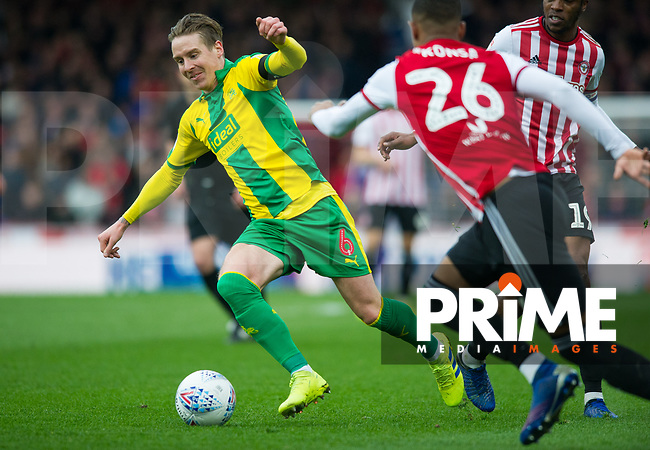 WBA's Stefan Johansen during the Sky Bet Championship match between Brentford and West Bromwich Albion at Griffin Park, London, England on 16 March 2019. Photo by Andrew Aleksiejczuk / PRiME Media Images.