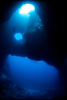 Ai freediving through the blue holes, Palau, Micronesia, Pacific ocean, Asia