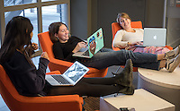 Occidental College students study for finals in the Rose Hills Student Activity Center in the Johnson Student Center, Dec. 13 , 2016. From left: Zoe Alles '19, Sandy Pattison '19, Claire Weider '19 .<br /> (Photo by Marc Campos, Occidental College Photographer)