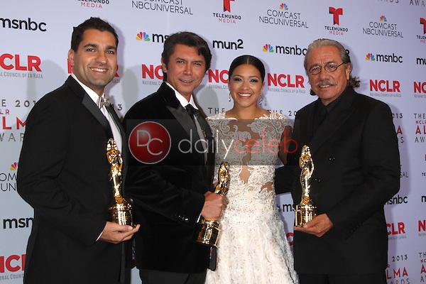 Lou Diamond Phillips, Gina Rodriguez, Edward James Olmos<br /> at the 2013 NCLR ALMA Awards Press Room, Pasadena Civic Auditorium, Pasadena, CA 09-27-13<br /> David Edwards/Dailyceleb.com 818-249-4998