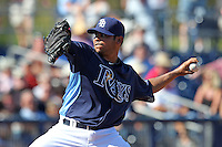Tampa Bay Rays pitcher Alexander Torres #54 delivers a pitch during a spring training game against the Baltimore Orioles at the Charlotte County Sports Park on March 5, 2012 in Port Charlotte, Florida.  (Mike Janes/Four Seam Images)