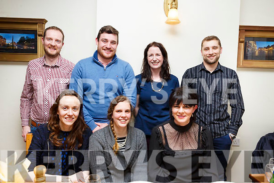 Friends celebrate with Jiska Healy in Bella Bia on Friday night last, who is leaving Dairymaster to start her own buisness. Seated l to r: Lilly Linehan, Jiska Healy and Caroline Leahy. Standing l to r: Mike Ryan, Niall O' Hanlon, Lisa Herlihy, Alan Lovrit