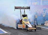 Feb 20, 2015; Chandler, AZ, USA; NHRA top fuel driver Spencer Massey during qualifying for the Carquest Nationals at Wild Horse Pass Motorsports Park. Mandatory Credit: Mark J. Rebilas-