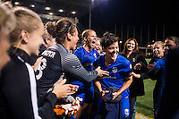 Seattle, Washington -  Sunday, September 11 2016: Keelin Winters celebrates after a regular season National Women's Soccer League (NWSL) match between the Seattle Reign FC and the Washington Spirit at Memorial Stadium. Seattle won 2-0.