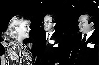 Pauline Marois (L), Yves Duhaime (M) and Jean Garon (R) attend the Rene Levesque tribute at Montreal's convention centre, October 2nd,1985.<br /> <br /> File Photo : Agence Quebec Presse - Pierre Roussel
