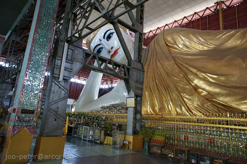 monumental sculpture of Buddha in Chaukhtatgyi Paya temple, Yangon, Myanmar, 2011