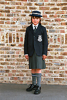Schoolgirl in her school uniform including cap blazer and shirt and tie. This image may only be used to portray the subject in a positive manner..©shoutpictures.com..john@shoutpictures.com