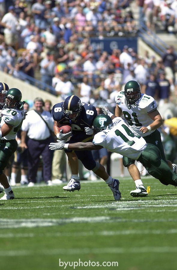 DSC_1036<br /> <br /> BYU vs Tulane 6 Luke Staley.<br /> August 25, 2001<br /> <br /> Box: in office<br /> <br /> Photo by: Mark Philbrick/BYU<br /> <br /> Copyright BYU PHOTO 2008<br /> All Rights Reserved<br /> 801-422-7322<br /> photo@byu.edu