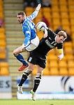 St Johnstone v Hibs...22.03.14    SPFL<br /> James Dunne and Liam Craig<br /> Picture by Graeme Hart.<br /> Copyright Perthshire Picture Agency<br /> Tel: 01738 623350  Mobile: 07990 594431