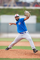 Toronto Blue Jays pitcher Donnie Sellers (72) during a Minor League Spring Training game against the Philadelphia Phillies on March 30, 2018 at Carpenter Complex in Clearwater, Florida.  (Mike Janes/Four Seam Images)