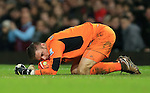 Stoke's Jack Butland rests on the ball after making a save<br /> <br /> Barclays Premier League - West Ham United v Stoke City - Upton Park - England -12th December 2015 - Picture David Klein/Sportimage