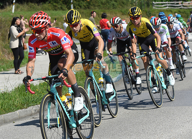 Race leader Primoz Roglic (SLO) Team Jumbo-Visma during Stage 14 of La Vuelta 2019  running 188km from San Vicente de la Barquera to Oviedo, Spain. 7th September 2019.<br /> Picture: Karlis | Cyclefile<br /> <br /> All photos usage must carry mandatory copyright credit (© Cyclefile | Karlis)