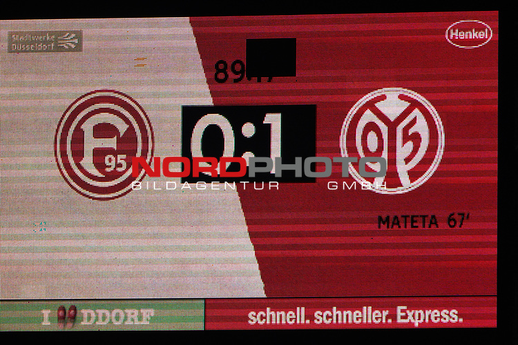 30.11.2018, Merkur Spielarena, Duesseldorf , GER, 1. FBL,  Fortuna Duesseldorf vs. 1.FSV Mainz 05,<br />  <br /> DFL regulations prohibit any use of photographs as image sequences and/or quasi-video<br /> <br /> im Bild / picture shows: <br /> Endstand 0:1<br /> Foto © nordphoto / Meuter