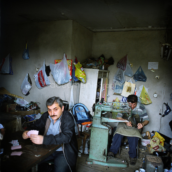 A shoemender...Nagorno Karabakh, oct 2010, Stepanakert...Magali Corouge/Documentography.