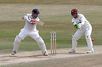 Nick Browne of Essex hits 4 runs as Steven Davies looks on from behind the stumps during Essex CCC vs Somerset CCC, Specsavers County Championship Division 1 Cricket at The Cloudfm County Ground on 28th June 2018