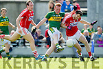 Johnny Buckley Kerry in action against Brian O Driscoll and Jamie O Sullivan Cork in the National Football league in Austin Stack Park, Tralee on Sunday.