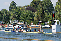 """Henley on Thames, United Kingdom, 7th July 2018, Saturday, View, """"Semi Final"""",  """"Remenham Challenge Trophy"""", """"University Of Washington"""", passing """"The Mile and One Eight"""", Marker"""",  """"Fourth day"""", of the annual,  """"Henley Royal Regatta"""", Henley Reach, River Thames, Thames Valley, England, © Peter SPURRIER,"""