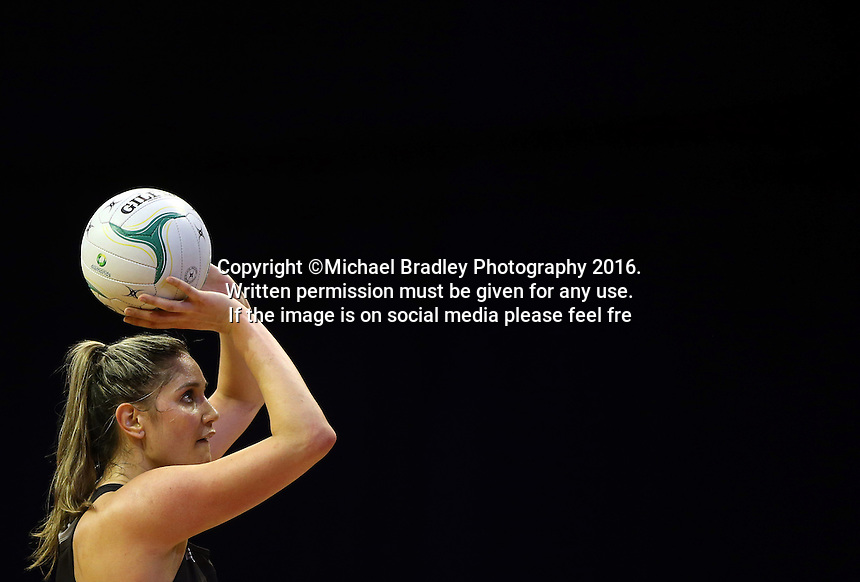 12.10.2016 Silver Ferns Te Paea Selby-Rickit in action during the Silver Ferns v Australia netball test match played at the Silver Dome in Launceston in Australia.. Mandatory Photo Credit ©Michael Bradley.