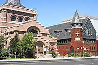St. John's Episcopal Church, 1892 & Guildhall, 1889. Ernest Coxhead. Church by Walter King after Coxhead's sketches. Stockton CA.