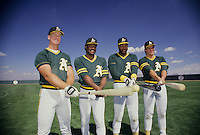 Oakland A's Sluggers (L-R), Mark McGuire, Don Baylor, Dave Parker, and Jose Canseco, 1988. Photo by Ron Riesterer