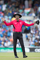 Kumar Dharmasena signals a wide during India vs New Zealand, ICC World Cup Warm-Up Match Cricket at the Kia Oval on 25th May 2019