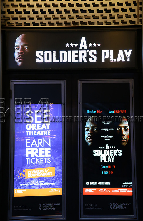 "Theatre Marquee unveiling for ""A Soldiers Story"" directed by Kenny Leon starrying David Alan Grier and Blair Underwood at the American Airlines Theatre on January 17, 2020 in New York City."