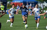 Kansas City, MO - Sunday August 28, 2016: Angela Salem, Erika Tymrak, Louise Schillgard during a regular season National Women's Soccer League (NWSL) match between FC Kansas City and the Boston Breakers at Swope Soccer Village.