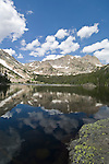 Thunder Lake, reflection, Pilot Mountain, Mount Alice, summer, subalpine, shoreline, forest, Rocky Mountain National Park, Colorado, USA, Rocky Mountains