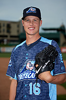 West Michigan Whitecaps pitcher Matt Manning (16) poses for a photo before a game against the Fort Wayne TinCaps on May 17, 2018 at Parkview Field in Fort Wayne, Indiana.  Fort Wayne defeated West Michigan 7-3.  (Mike Janes/Four Seam Images)