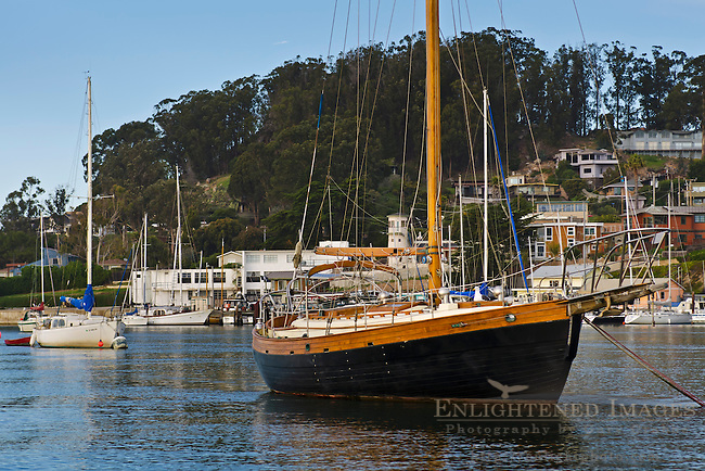 Sailboat Anchored in Morro Bay, California